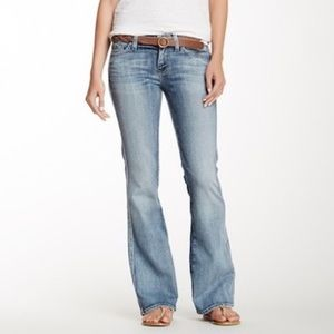 {7 FAM} Light Wash Creased Bootcut Jeans